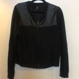 Leather cotton blend zip up